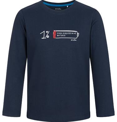 T-shirt z długim rękawem dla chłopca, z baterią, granatowy, 9-13 lat C03G699_1