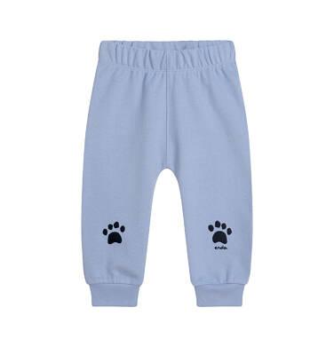 Endo - Spodnie dresowe dla dziecka do lat 2, z łapkami na kolanach, błękitne N05K014_1 10