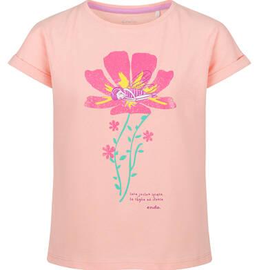 Endo - Bluzka z krótkim rękawem dla dziewczynki, z kwiatem, pomarańczowa, 2-8 lat D03G095_2 1