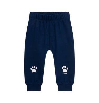 Endo - Spodnie dresowe dla dziecka do lat 2, z łapkami na kolanach, granatowe N05K014_2 9