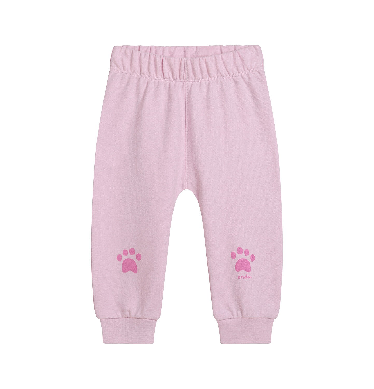 Endo - Spodnie dresowe dla dziecka do lat 2, z łapkami na kolanach, różowe N05K014_3