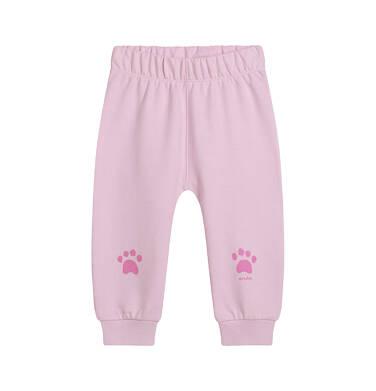 Spodnie dresowe dla dziecka do lat 2, z łapkami na kolanach, różowe N05K014_3