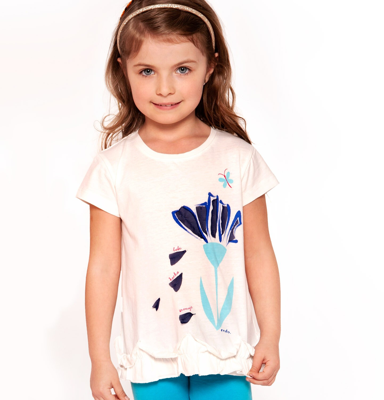 Endo - Bluzka z krótkim rękawem dla dziewczynki 3-8 lat D91G109_2