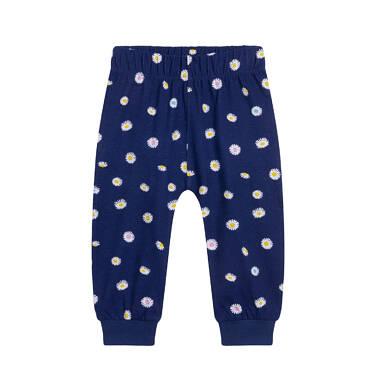 Endo - Spodnie dresowe dla dziecka do lat 2, w stokrotki, granatowe N05K017_1 7