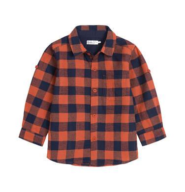 Koszula z długim rękawem dla dziecka do 3 lat, w kratę N92F009_2