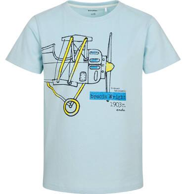 T-shirt z krótkim rękawem dla chłopca, z samolotem, miętowy, 2-8 lat C05G138_2