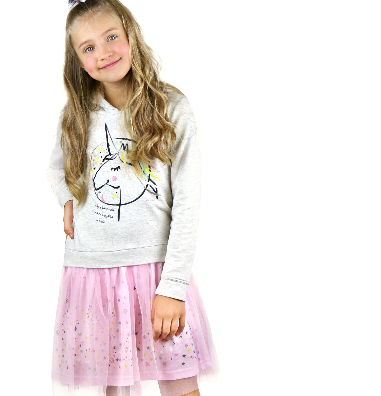 Endo - Sukienka z kapturem i długim rękawem dla dziewczynki 9-13lat D92H559_1
