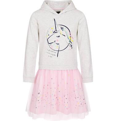 Endo - Sukienka z kapturem i długim rękawem dla dziewczynki 9-13lat D92H559_1,2