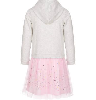 Endo - Sukienka z kapturem i długim rękawem dla dziewczynki 9-13lat D92H559_1,3