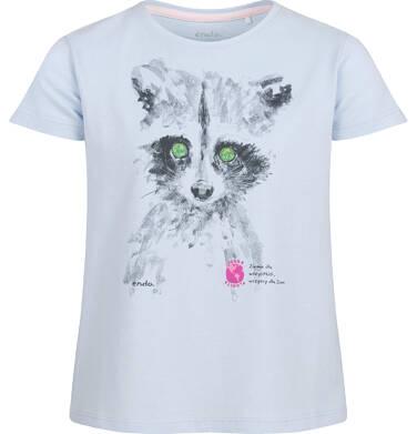 Bluzka z krótkim rękawem dla dziewczynki, z szopem, niebieska, 9-13 lat D03G602_1