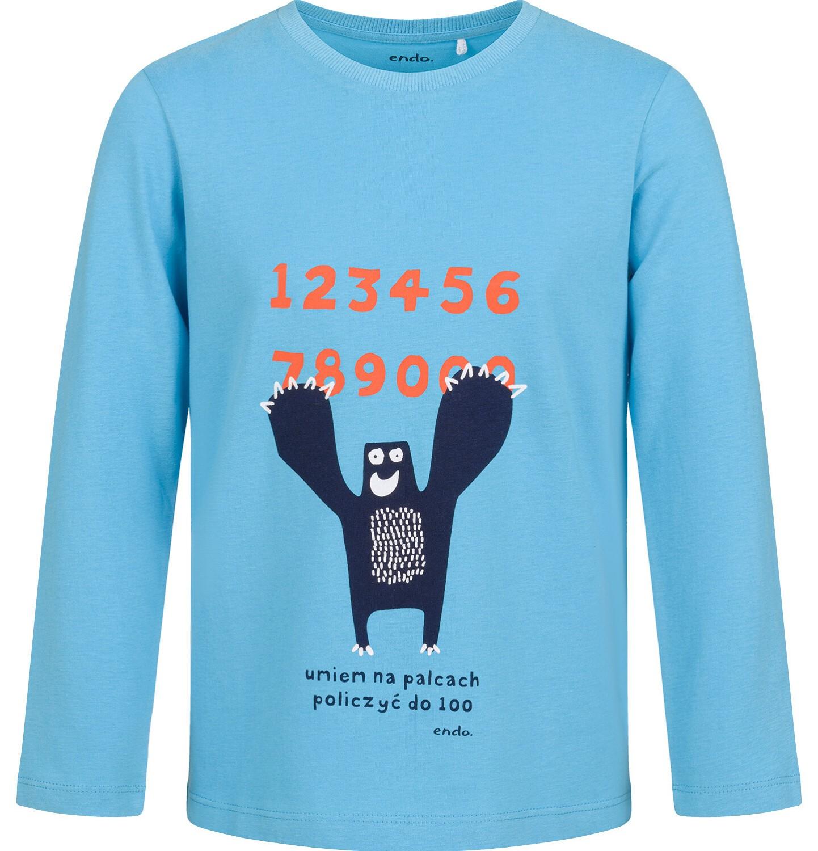 Endo - T-shirt z długim rękawem dla chłopca, z liczbami, niebieski, 9-13 lat C03G707_1