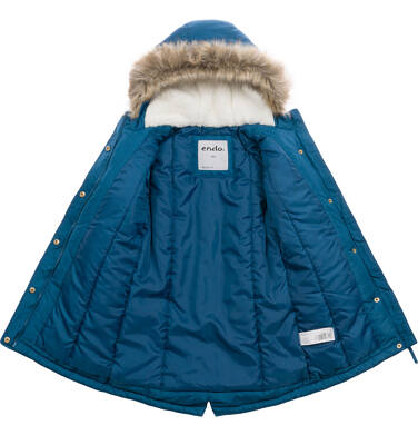 Endo - Długa kurtka parka zimowa z kapturem, 9-13 lat D04A009_1,3