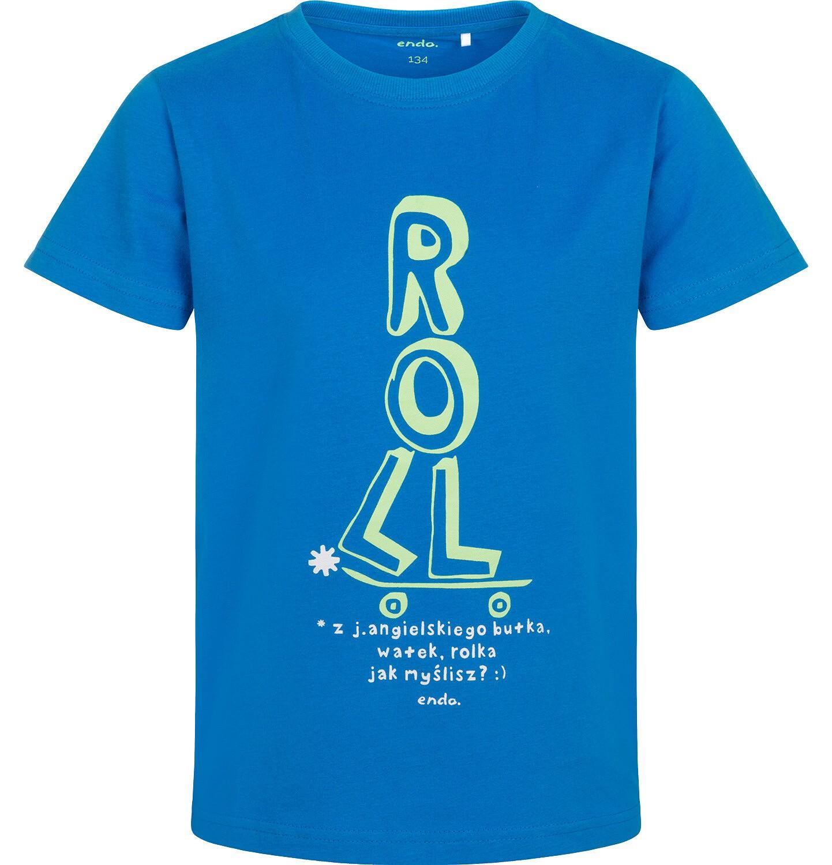 Endo - T-shirt z krótkim rękawem dla chłopca, z deskorolką, niebieski, 9-13 lat C05G033_2