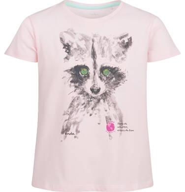 Endo - Bluzka z krótkim rękawem dla dziewczynki, z misiem, różowa, 2-8 lat D03G102_2 3