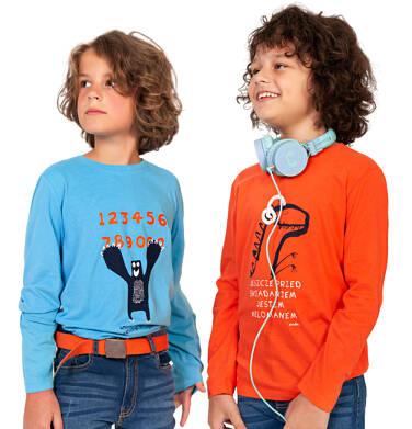 Endo - T-shirt z długim rękawem dla chłopca, z dinozaurem, pomarańczowy, 9-13 lat C03G708_1,2