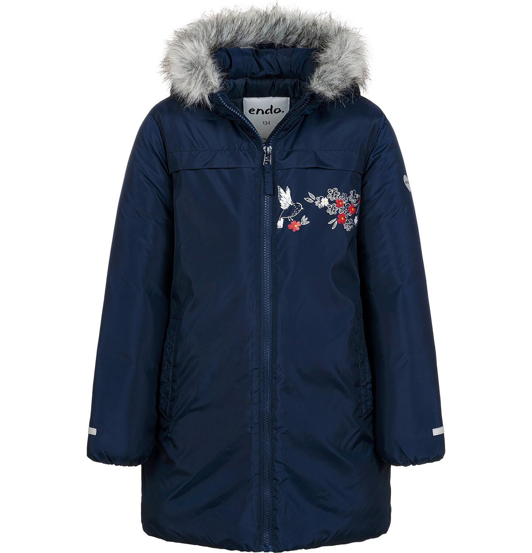 Endo - Długa kurtka zimowa, płaszcz z kapturem, granatowy, 9-13 lat D04A012_1