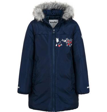 Długa kurtka zimowa, płaszcz z kapturem, granatowy, 9-13 lat D04A012_1