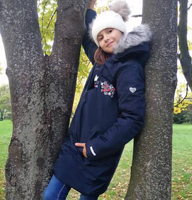 Endo - Długa kurtka zimowa, płaszcz z kapturem, granatowy, 9-13 lat D04A012_1,2