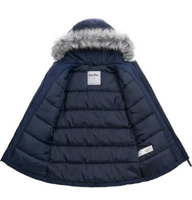 Endo - Długa kurtka zimowa, płaszcz z kapturem, granatowy, 9-13 lat D04A012_1,5