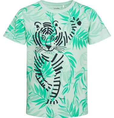 T-shirt z krótkim rękawem dla chłopca, ze zwierzęcym motywem, zielony, 2-8 lat C05G116_1