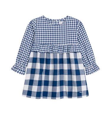 Sukienka z długim rękawem dla dziewczynki do 3 lat, w kratkę, granatowo-biała N92H016_1