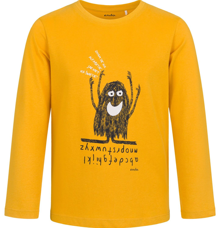 Endo - T-shirt z długim rękawem dla chłopca, z alfabetem, musztardowy, 9-13 lat C03G709_1