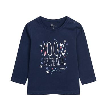 Endo - Bluzka z długim rękawem dla dziecka do 2 lat, granatowa N04G058_1 29