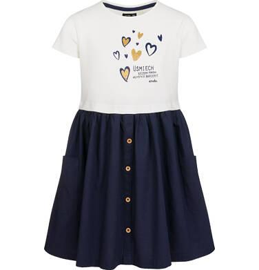 Endo - Sukienka z krótkim rękawem, z motywem w złote serduszka, granatowy dół, 9-13 lat D03H510_1 10