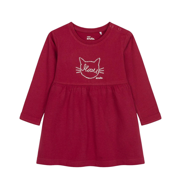 Endo - Sukienka z długim rękawem dla dziecka do 2 lat, z kotem, bordowa N04H004_1