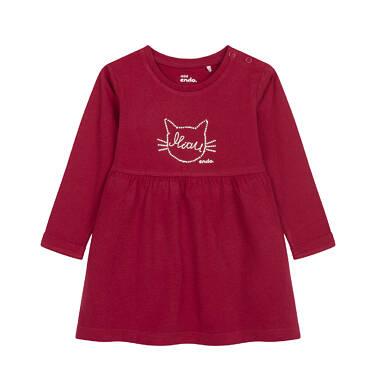 Endo - Sukienka z długim rękawem dla dziecka do 2 lat, z kotem, bordowa N04H004_1 6