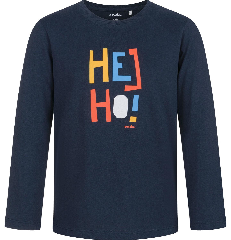 Endo - T-shirt z długim rękawem dla chłopca, z kolorowym napisem, granatowy, 9-13 lat C03G710_1