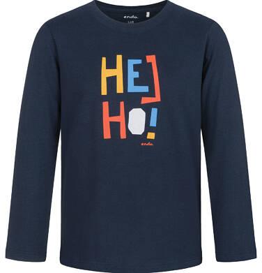 Endo - T-shirt z długim rękawem dla chłopca, z kolorowym napisem, granatowy, 9-13 lat C03G710_1 4