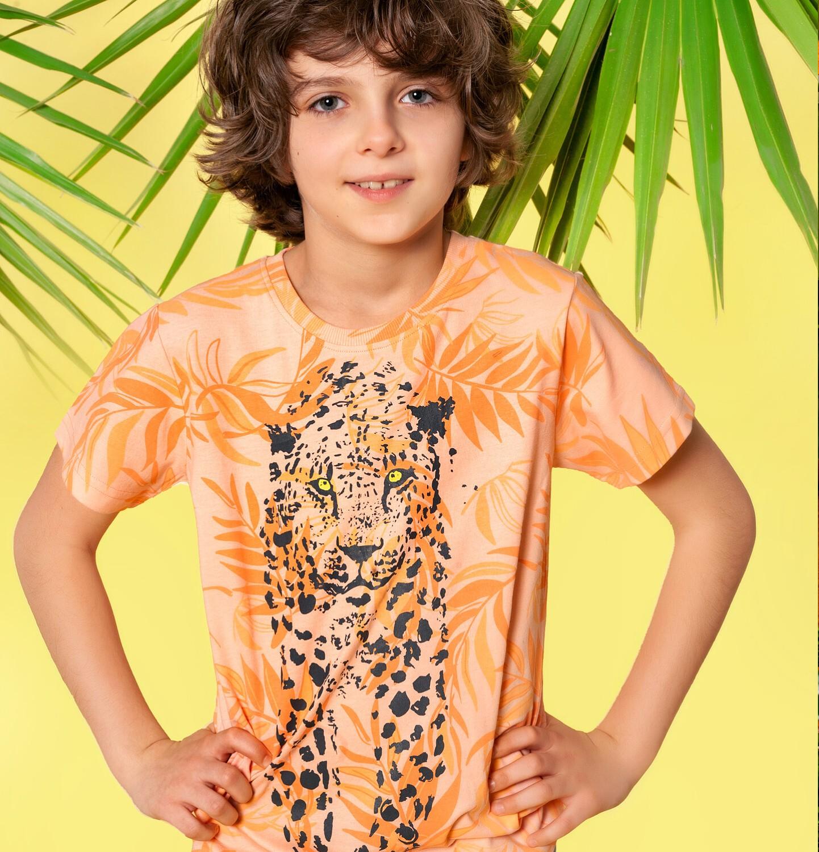Endo - T-shirt z krótkim rękawem dla chłopca, z lampartem, pomarańczowy, 2-8 lat C05G118_1