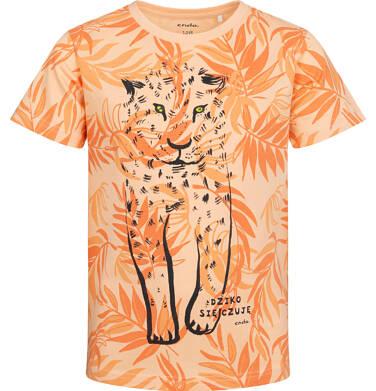 T-shirt z krótkim rękawem dla chłopca, z lampartem, pomarańczowy, 2-8 lat C05G118_1