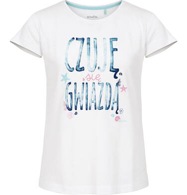 Bluzka z krótkim rękawem dla dziewczynki 9-13 lat D91G641_1