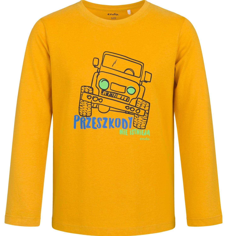 Endo - T-shirt z długim rękawem dla chłopca, z samochodem, musztardowy, 9-13 lat C03G714_1
