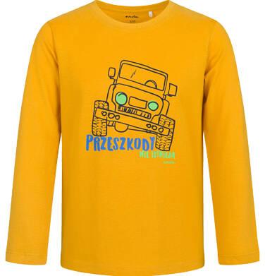 Endo - T-shirt z długim rękawem dla chłopca, z samochodem, musztardowy, 9-13 lat C03G714_1,1