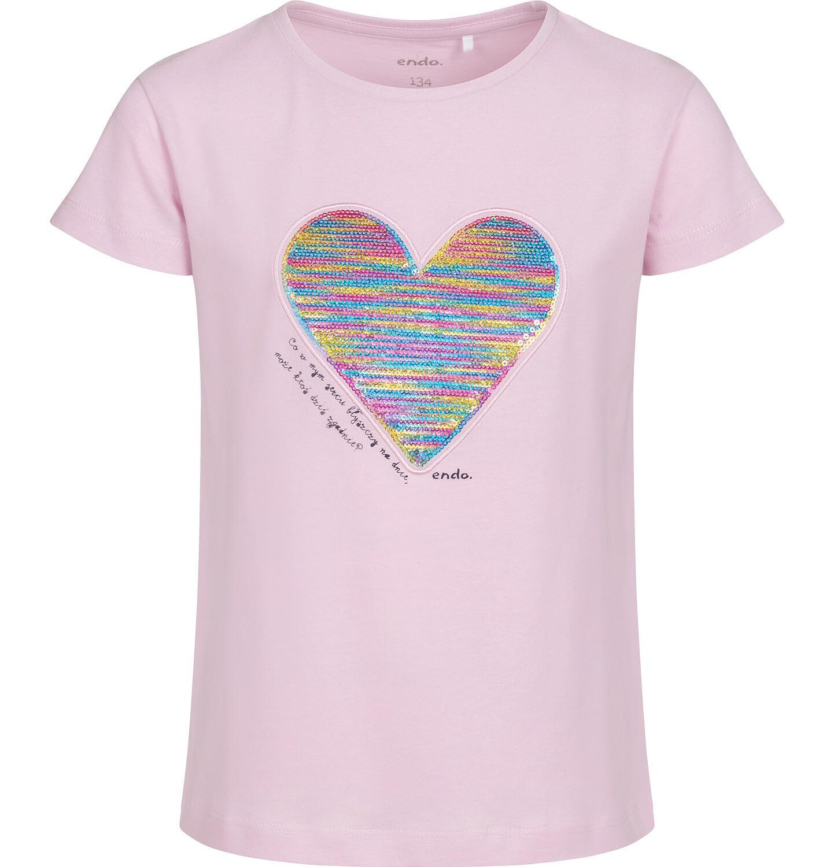Endo - Bluzka z krótkim rękawem dla dziewczynki, z serduszkiem, różowa, 9-13 lat D05G006_1