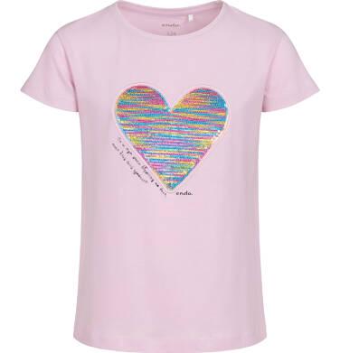 Bluzka z krótkim rękawem dla dziewczynki, z serduszkiem, różowa, 9-13 lat D05G006_1