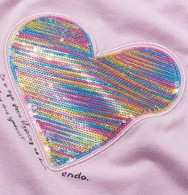 Endo - Bluzka z krótkim rękawem dla dziewczynki, z serduszkiem, różowa, 9-13 lat D05G006_1,2