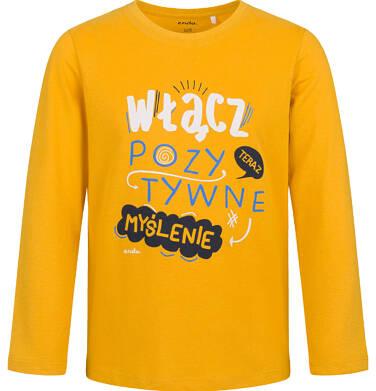 Endo - T-shirt z długim rękawem dla chłopca, z pozytywnym napisem, musztardowy, 9-13 lat C03G715_1 2