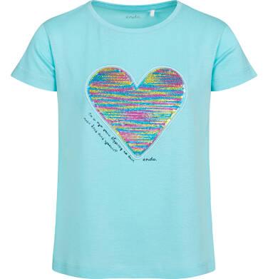 Bluzka z krótkim rękawem dla dziewczynki, z serduszkiem, niebieska, 9-13 lat D05G006_2