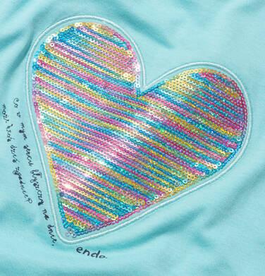 Endo - Bluzka z krótkim rękawem dla dziewczynki, z serduszkiem, niebieska, 9-13 lat D05G006_2,2