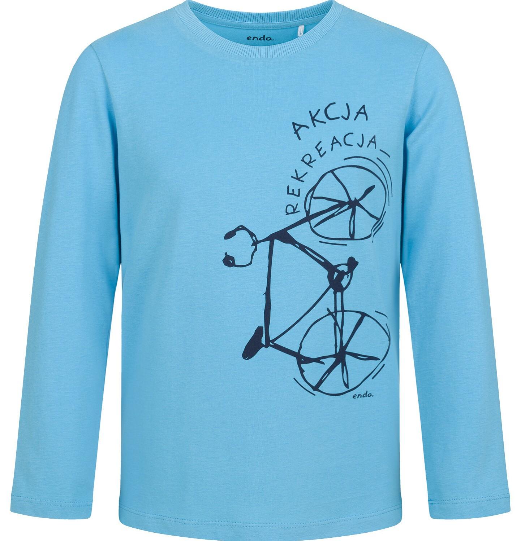 Endo - T-shirt z długim rękawem dla chłopca, z rowerem, niebieski, 9-13 lat C03G716_1