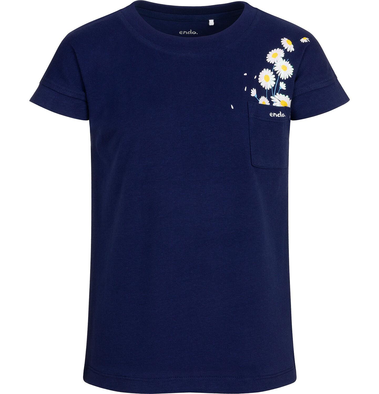 Endo - Bluzka z krótkim rękawem dla dziewczynki, z kieszonką, granatowa, 9-13 lat D05G016_1