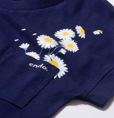 Endo - Bluzka z krótkim rękawem dla dziewczynki, z kieszonką, granatowa, 9-13 lat D05G016_1,2