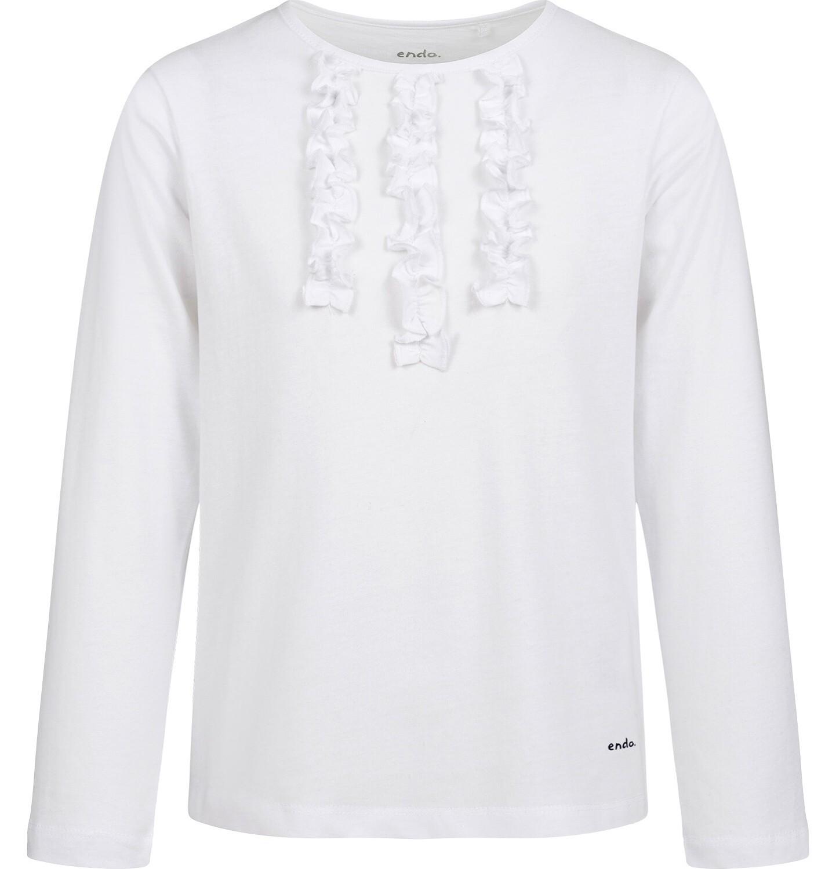 Endo - Bluzka z długim rękawem dla dziewczynki, biała, 5-8 lat D03G222_1