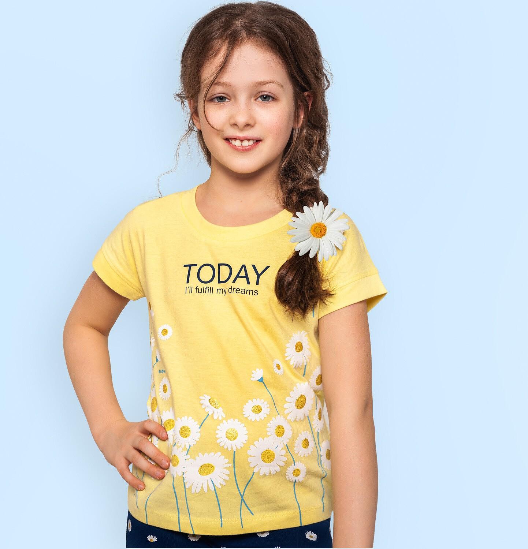 Endo - Bluzka z krótkim rękawem dla dziewczynki, z kwiatowy nadrukiem, żółta, 9-13 lat D05G019_2