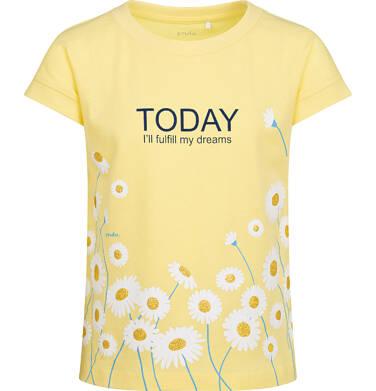 Bluzka z krótkim rękawem dla dziewczynki, z kwiatowy nadrukiem, żółta, 9-13 lat D05G019_2