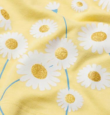 Endo - Bluzka z krótkim rękawem dla dziewczynki, z kwiatowy nadrukiem, żółta, 9-13 lat D05G019_2,2